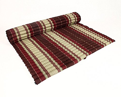 Design by UnseenThailand Roll Up Thai Mattress, Kapok Fabric, Premium Double Stitched, 79x63x2 inches. (Dark Red - Red) by UnseenThailand Warehouse