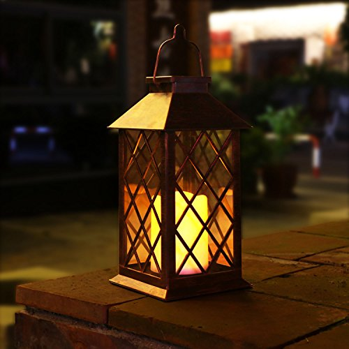 TAKE ME Solar Lantern,Garden Hanging Lantern Outdoor-Waterproof LED Flickering Flameless Candles Mission Lantern for Table,Outdoor,Party by TAKE ME