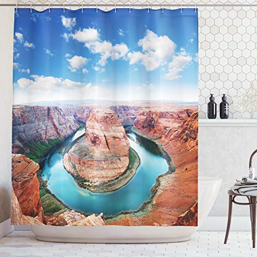 Ambesonne Room Decorations Collection, Horse Shoe Bend North Rim Grand Canyon Page Arizona USA Famous Tourist Attractions, Polyester Fabric Bathroom Shower Curtain, 84 Inches Extra Long, Sandy Brown (Best Shoes For Grand Canyon)