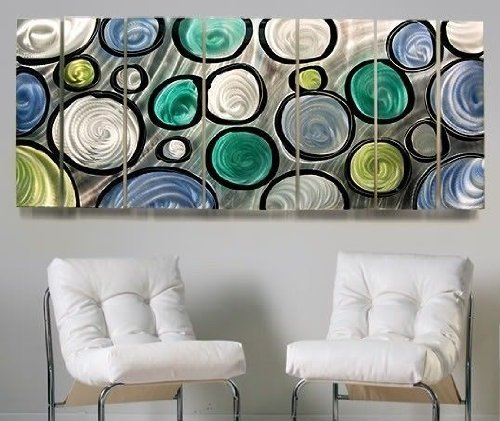 Hand Painted Modern Blue, Green, and Silver Abstract Aluminum Metal Wall Art Sculpture - Circles of Life By Jon Allen