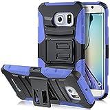 Galaxy S6 Edge Holster Case, Fosmon STURDY [Locking Swivel Belt Clip   Kickstand] Rugged Heavy Duty Shock Proof Case for Samsung Galaxy S6 Edge (Black/Blue)