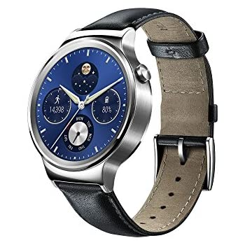 Huawei Watch W1 Silver Frame Leather Belt Android IOS Bluetooth Smart Wrist Watch Silver I