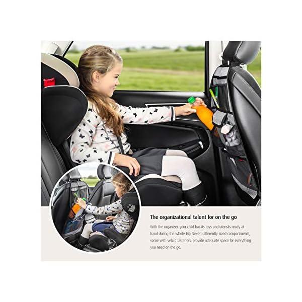51iae ENkNL reer Autorücksitz-Organizer TravelKid Tidy, schmutzabweisend, viele Taschen, für alle Autositze, auch Sportsitze, grau