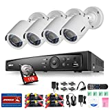 ANNKE 4CH Full 1080P Surveillance DVR with 1TB Hard Drive and (4) 2.0MP Outdoor Fixed Night Vision CCTV Cameras with IP66 Weatherproof Housing