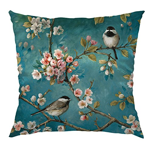 HGOD DESIGNS Hummingbirds Decorative Throw Pillow Cover Case with Two Birds with Cherry Flower Satin Square Standard Cushion Cover for Home Decoration Bed Sofa Couch 18x18 inch, Blue,Pink,Gray ()