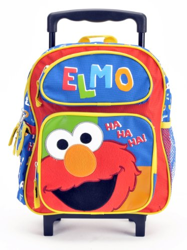 """July 4th Combo - Sesame Street Elmo Haha Elmo's World Toddler Rolling Backpack and Mickey Mouse 200 Piece Stickers Set, Backpack Size 12"""""""
