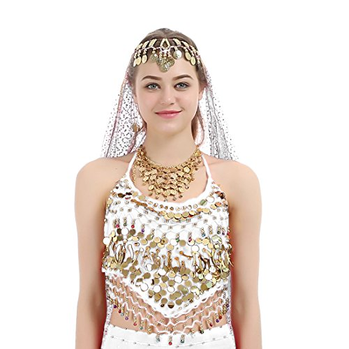 [iMucci Belly Dance Small Pepper Sequins Sleeveless Tops India Dancewear Costume White] (Sequin Tinker Bell Adult Costumes)