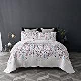 Bedsure Printed Quilt Coverlet Set Twin(68''x86'') Lilac Floral Pattern Lightweight Hypoallergenic Microfiber Bouquet by