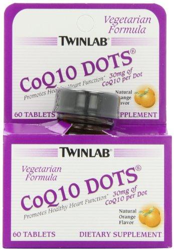 Twinlab CoQ10 Dots, Natural Orange Flavor, 60 Count Tablets
