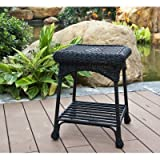 Wicker Lane OTI001-D Outdoor Black Wicker Patio Furniture End Table