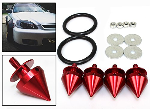Cuztom Tuning Red JDM Spike Quick Release Fastener Fits for Car Bumpers Trunk Fender Hatch Lids Kit