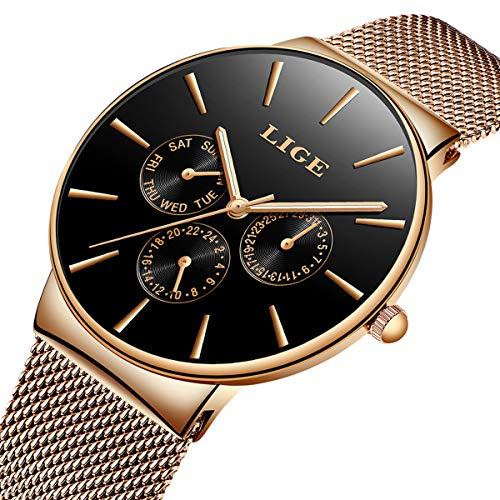 LIGE Ultra-Thin Unisex Women Men Watches Fashion Waterproof Analog Quartz Watch Stainless Steel Mesh Rose Gold ()