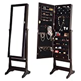 Giantex Lockable Mirrored Jewelry Cabinet Armoire Organizer Storage w/Stand & LED Lights (Brown)