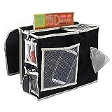 VOIMAKAS Bedside Hanging Storage Bag, 6 Pockets Oxford Cloth Organizer Bag for Book Magazine Phone Tissue TV Remote Accessory - Black