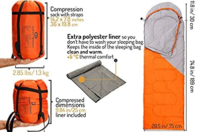 Superior Sleeping Bag Set - Lightweight Sleeping Bag with Compression Sack and Polyester Sleeping Bag Liner