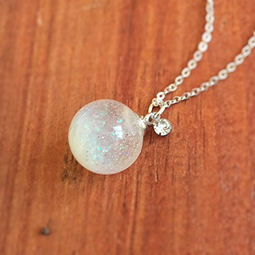 Snowflakes Ball (Noctilucent Snow flakes Glass Ball Necklace, Magic ball, Orb Pendant Prism Charm, Bling Bling, Terrarium, Diamond, Afterglow, Light Blue)