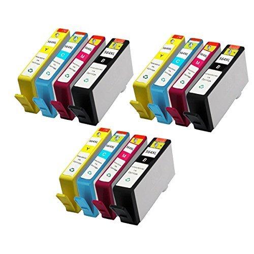 JCINK 12PK Remanufactured Ink Cartridge for HP 564XL HP564 XL Photosmart C510 B209 B210 C309 C310 C410 Series Printer by JCINK