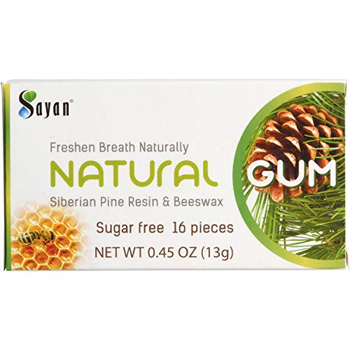 (Sayan Sugar Free All Natural Gum 6 Packs (96 Pieces)| Siberian Pine Tree Resin and Beeswax Chewing Gum for Fresh Breath | Vegetarian, Non-GMO, No Sugar, Gluten Free, Aspartame Free)