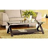 Dark Wood Coffee Table with Glass Top Benzara BM148902 Cross Legs Modern Glass Coffee Table, Dark Brown