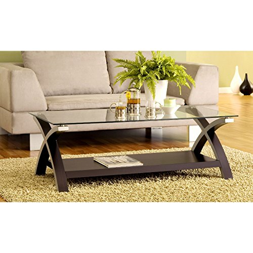 Benzara BM148902 Cross Legs Modern Glass Coffee Table, Dark Brown from Benzara