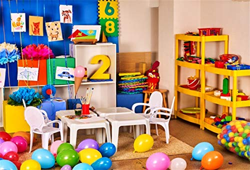 CSFOTO 5x3ft Background Balloons Pictures Children Playroom Photography Backdrop School Desk Preschool Inside Child Game Room Childish Colors Toy Shelf Kid Photo Studio Props Vinyl Wallpaper]()