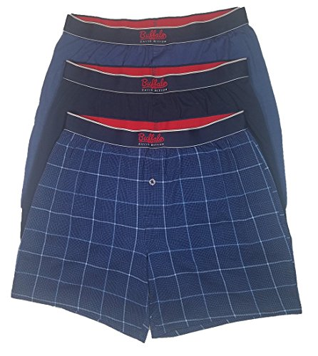 Buffalo David Bitton Mens 3 Pack Knit Boxers (X-Large, - Boxers Navy Plaid
