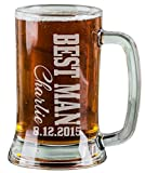 16 Oz Best Man Engraved Beer Mug Wedding Party Gifts for Groomsmen Beer Glass Etched Engraved Custom with Name and Date for Wedding