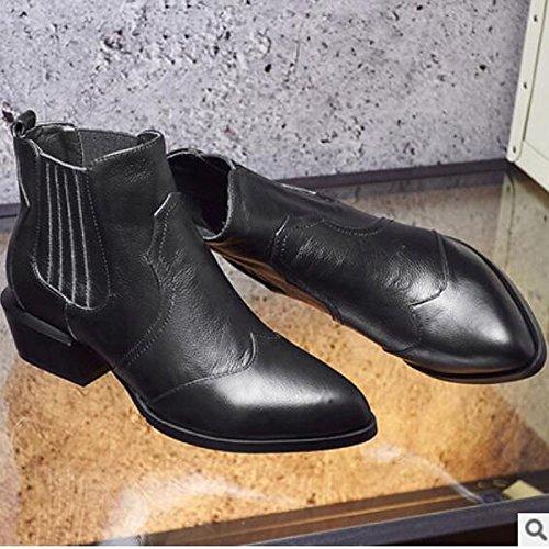 ZHZNVX HSXZ Zapatos de Mujer Otoño Invierno PU Confort Botas de Tacón Chunky Señaló Toe Botines/Botines Informales Amarillo Negro,Negro,US6/UE36/UK4/CN36 Black