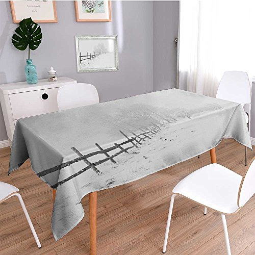 (Auraisehome Water Resistant Tablecloth Snow covered fence in white space Great for Buffet Table, Parties, Holiday Dinner, Wedding & More)