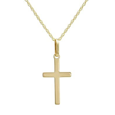 Amazon.com  14k Yellow Gold Cross Pendant Necklace on an 18 in ... 8b02d964d