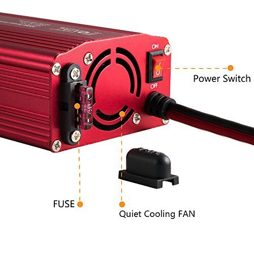 Foval Power Inverter 300W DC 12V to 110V AC Converter with 4.8A Dual USB Car Charger(Red) by FOVAL (Image #4)