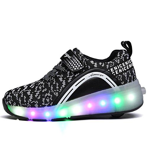 LILY999 LED Zapatos Niños Deporte Patín Ruedas Luminoso Formadores Flying Niños con 1 Ruedas Zapatillas Negro