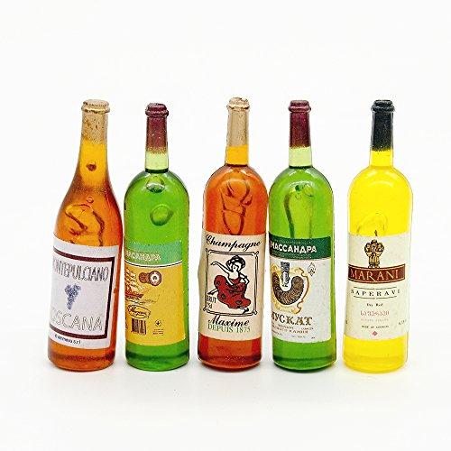 Odoria 1:12 Miniature 5PCS Multicolor Wine Bottles Dollhouse Kitchen Accessories
