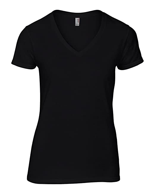 Anvil Damen Women´s Fashion Basic V-Neck Tee 88VL Black S