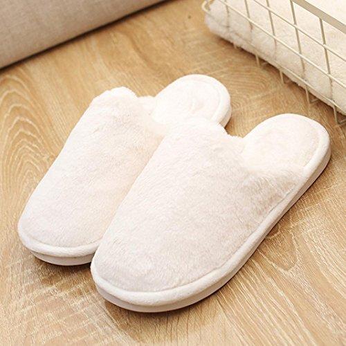 BZLine® Frauen Flat Soft weiche Pelz Flat Slipper Flip Flop Sandalen Schuhe Weiß