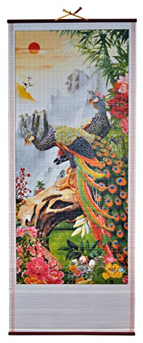 Rattan Wall Scroll - Two Peacocks (Rattan Cane Manau)