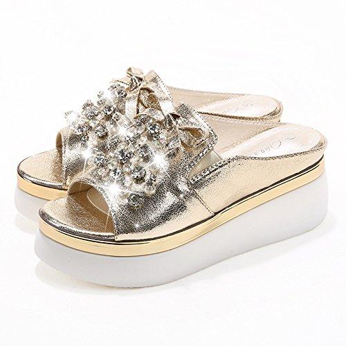 Chunky Qin Golden Flip amp;X Heel Sandals Women's Flop Casual rOx1IqPO