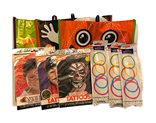 Happy Halloween Trick or Treat Gear Bag Skeleton, Pirate and Day of The Dead Boy Tattoos and Glow Braclets for 3 -