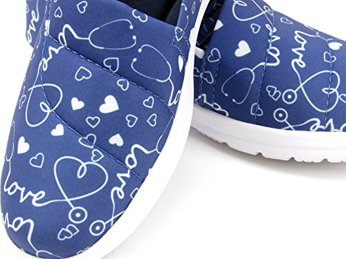 Ocean Women's Cute Memory Foam Nursing Shoes - Printed - Florence (10, Stetho Love Blue) by Keep Nursing (Image #6)