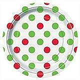 Red & Green Polka Dot Christmas Dessert Plates, 8ct