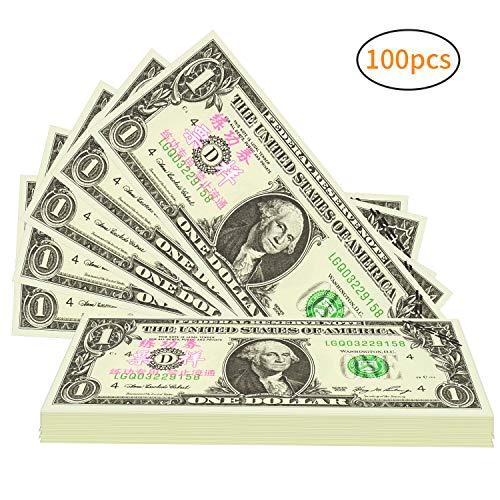 Winkeyes 100pcs Prop Money 1 Dollar Bills Play Money Realistic Copy Paper Money Full Print 2 Sided for Movie Game Kids School Students