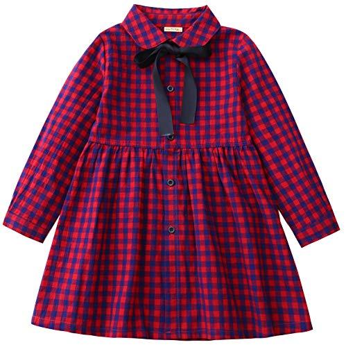 SenseFit Kids Little Girls Ribbon Simple Pleated Flannel Toddler Long Sleeve Red Black Dresses for Kids 3~8 Years