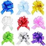HONGJUYUAN  Wrapping Ribbon Pull Bows for  Wedding, Party, Birthday, Car, Holiday, Presents, Bags, Baskets, Bottles Decorations 9 Pieces in Different Color: more info