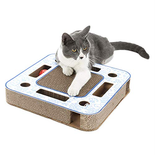 OBOR Cat Scratcher Cardboard with Balls Deluxe Kitty Scratching Pad Lounge Cat Scratching Post with 2 Rolling Bell Balls Cat Toys (Square)