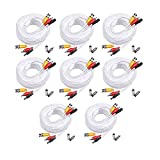 Masione 8 PACK white 100ft Feet AV Video Audio & Power BNC Cable for CCTV Video Security Surveillance Camera with 2 RCA Male to BNC Female Connectors 3JG