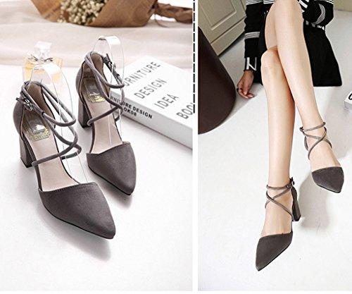 Minetom Grueso Gris Elegante Mujer Zapatos Sandalias Correa Con Nubuck Tacón Tobillo Puntiagudos De Cruz r6rOWf