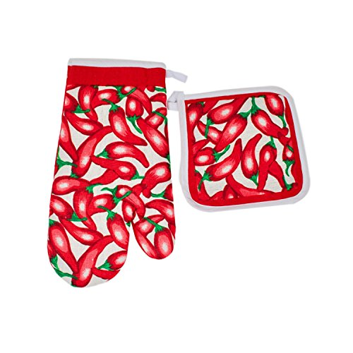 - Red Hot Chili Pepper Kitchen Decor Accents Set Of 2 Pot Holders 1 Oven Mitt For Cooking, Baking, Housewarming