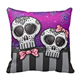 Day Of The Dead Glitter Sugar Skulls Ombre Stripe Throw Pillow Case