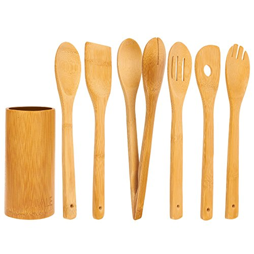 Juvale 7-Piece Set Bamboo Cooking Utensils - Cooking Utensils Kitchen Set - Includes Solid Turner, Serving Spork, Slotted Spoon, Solid Spoon, Tong, Spatula Hole Utensil Holder, Brown