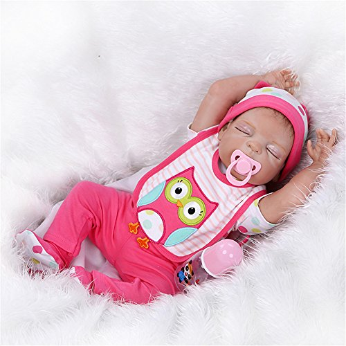 [Reborn Full Silicone Body Baby Doll Sleeping Lifelike Newborn Girl 23-Inch Fan Moon Pink Bib Owl] (Cabbage Head Costume)